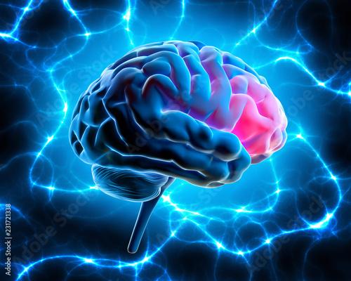 Gehirn mit elektrischer Energie Fototapet