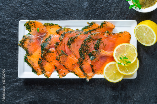 Stampa su Tela Gravadlax - Nordic dish of thinly sliced raw salmon cured in salt, sugar and dil