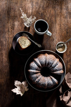 Bundt Cake With Coffee On A Ru...