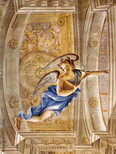 MODENA, ITALY - APRIL 14, 2018: The freso of angel in church Chiesa di San Bartolomeo by Giuseppe Barbieri (1642-1733)