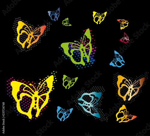 Foto op Aluminium Vlinders in Grunge Colorful butterflies