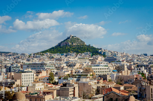 Athens city view with Lycabettus hill
