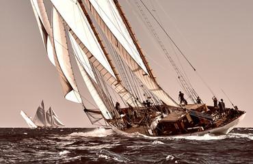 Fototapeta Sailing ship yacht race. Yachting. Sailing. Regatta. Classic sail yachts and sailboats