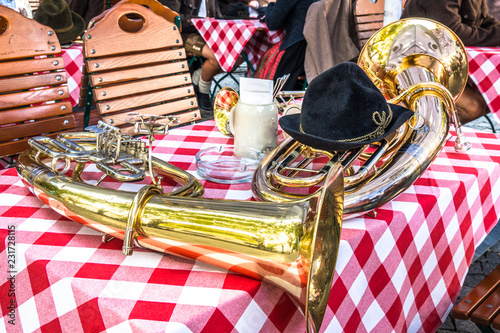 part of a typical bavarian brass instrument Fototapete