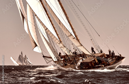 Voile Sailing ship yacht race. Yachting. Sailing. Regatta. Classic sail yachts and sailboats