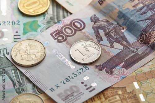 Fotografía  russian banknotes and coins