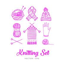 Hand Drawn Outline, Knitting Set. Clew, Yarn, Wool, Knitting Needles, Thread, Basket, Knit Work, Hat, Glove, Scarf, Mitten.