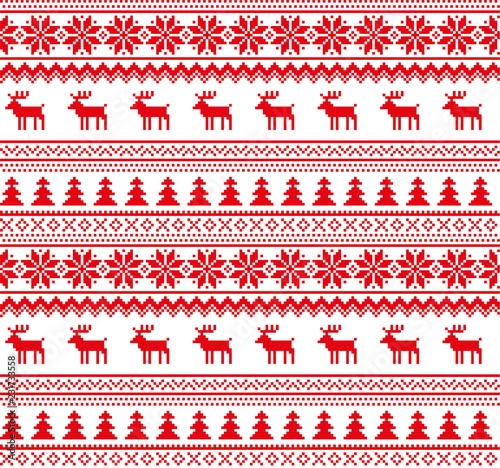 Photo  New Year's Christmas pattern pixel vector illustration