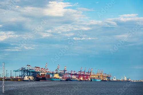 Poster Poort Blick auf den Hafen der Stadt Bremerhaven