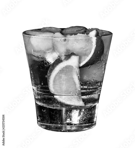 Spoed Foto op Canvas Cocktail Black and white, white rum, Alcoholic cocktail, cocktail with lime, isolated on white