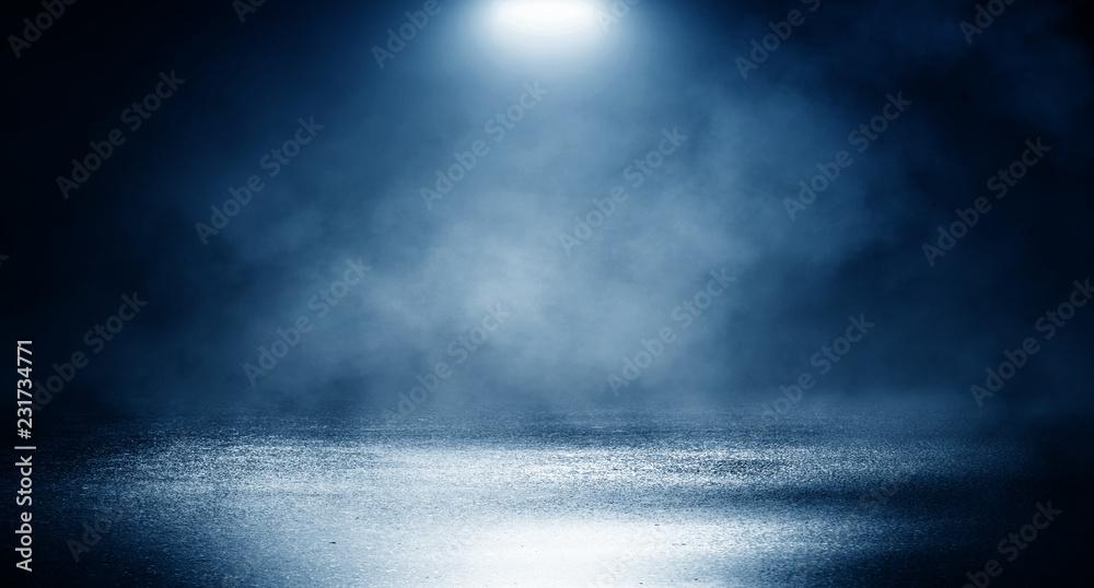 Fototapety, obrazy: Background of empty dark room, street. Concrete floor, asphalt, neon light, smoke, spotlight