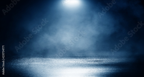 Door stickers Light, shadow Background of empty dark room, street. Concrete floor, asphalt, neon light, smoke, spotlight