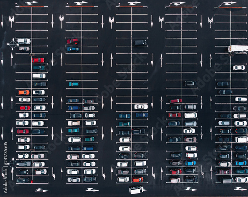 Aerial view parking place car lot near mall