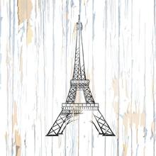 Eiffel Tower Drawing On Wood