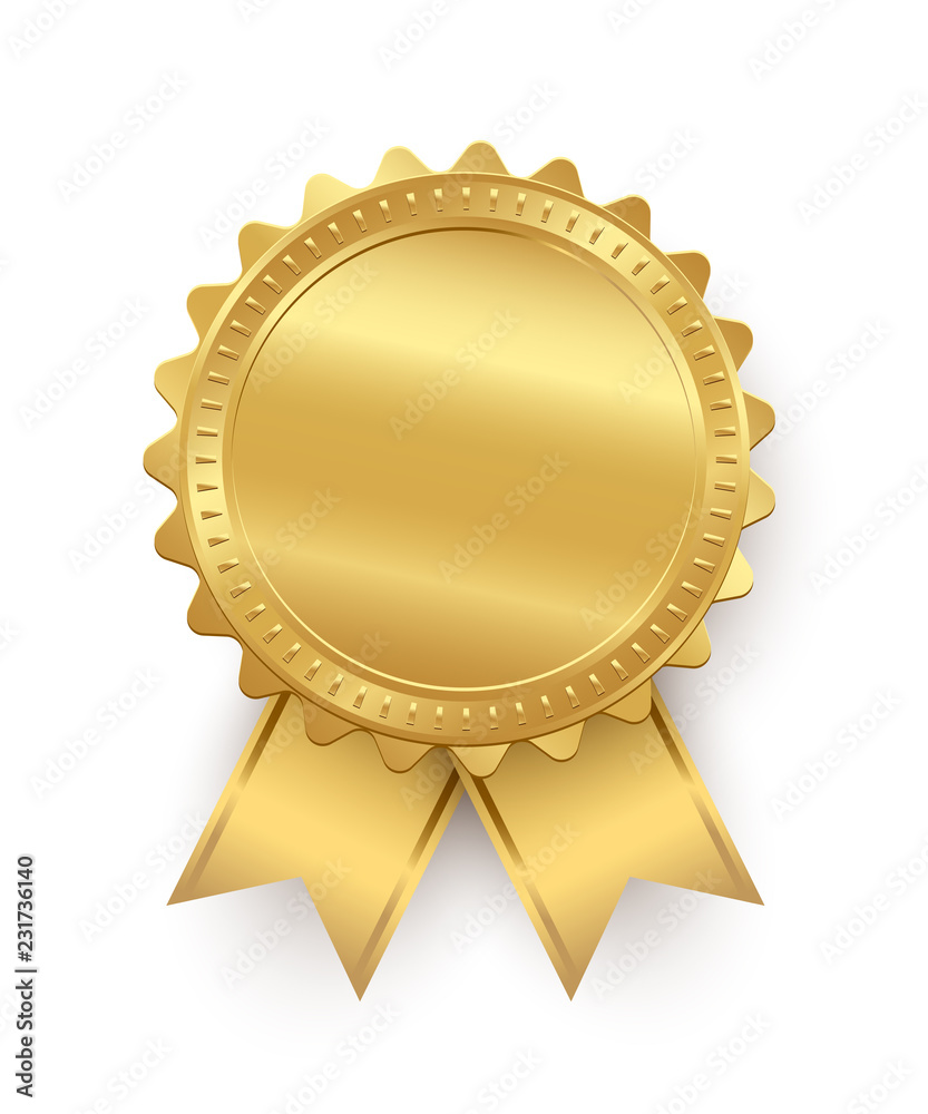 Fototapeta Vector golden seal with ribbons isolated on white background.