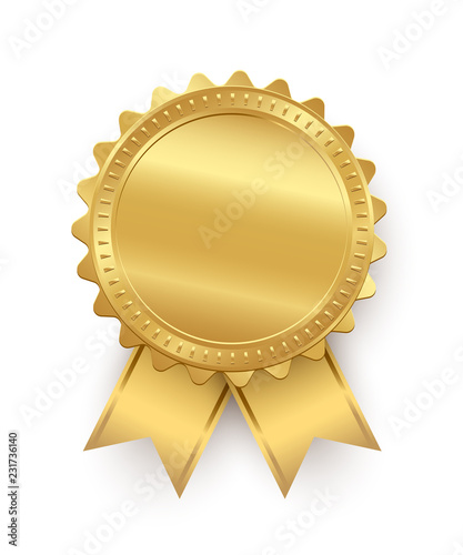 Obraz Vector golden seal with ribbons isolated on white background.  - fototapety do salonu