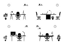 Office Interior Icon Set. Blac...
