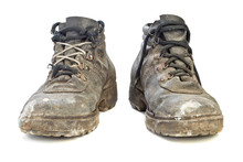 Worn-out Old Work Boots Isolat...