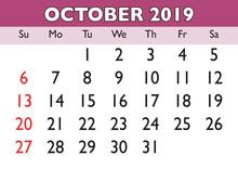 October Month Calendar 2019 English USA