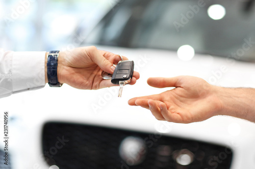 Fotografiet  Midsection of young couple buying new car