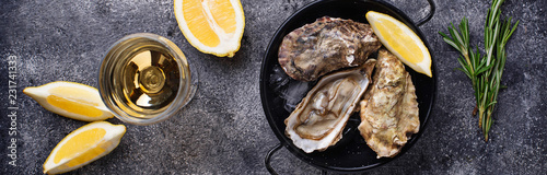 Fresh oysters with lemon and white wine Slika na platnu