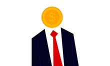 Man With A Money As A Head. Vector Illustration Of Dollar Currency Coin Person. You Are What You Eat. Money Man Concept.