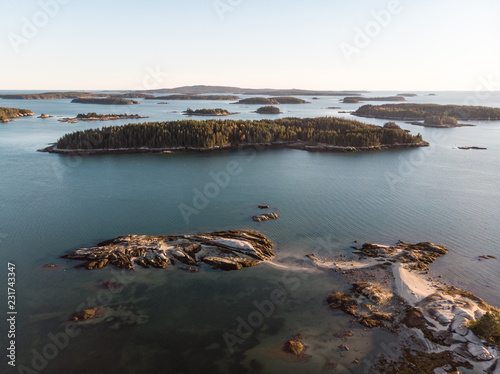 Photo Flying over Islands in Stonington Harbor, ME