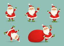 Collection Of Cute Christmas Santa Claus Isolated. Christmas Set Of Cheerful, Funny Santa Clause For Winter Holidays. Happy Santa Claus Cartoon Character Ready New Year. Vector.