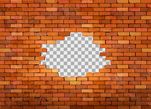 Vintage Red Brick Wall Frame On Transparent Background. Vector