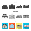 Vector design of building and front symbol. Collection of building and roof vector icon for stock.