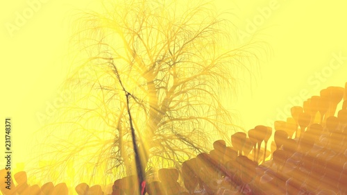 Mountain, fog, mist abstract meadow field full of strange vegetation in form of wine glasses and lit by bright sun god rays with lonely tree without leaves. Unusual 3d illustration. Travel and camping