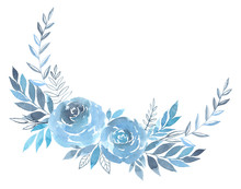 Floral Wreath Of Blue Roses Flowers Watercolor
