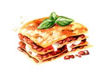 Lasagna. Watercolor Hand Drawn...