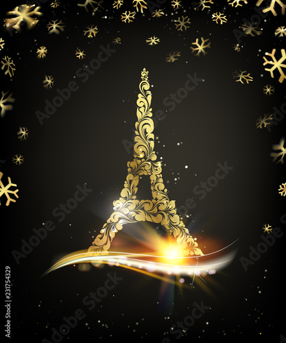 happy new year card over black background with golden sparks eiffel tower with golden confetti