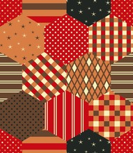 Patchwork Pattern In Red, Oran...