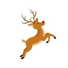 Cute Xmas Deer Icon. Flat Illustration Of Cute Xmas Deer Vector Icon For Web Design