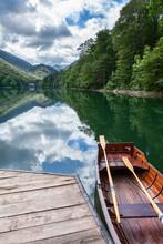 Wooden Rowboat For Water Trip On Shore Of Biograd Lake. The Biogradska Gora National Park. Montenegro, Europa