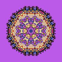 Violet Seamless Outlined Mandala. Unusual Tribal Design Element. Abstract Art Ornament. Fantasy Snowflake