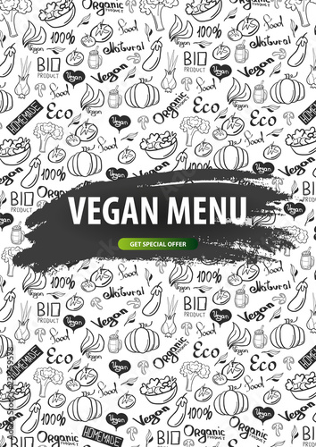 Vegan Menu Healthy Food Vegetarian Banner Hand Draw Doodle Background Vector Illustration Buy This Stock Vector And Explore Similar Vectors At Adobe Stock Adobe Stock