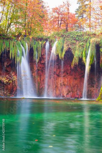 Plitvice waterfalls in the fall © panaramka