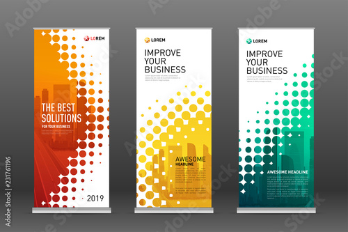 Cuadros en Lienzo Real estate roll up banners design templates set