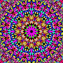 Colorful Seamless Stone Mosaic Mandala Pattern Wallpaper Design - Ethnic Abstract Vector Background Illustration
