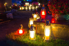 Colorful Candles On The Cemete...