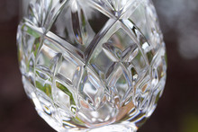 Close Up View Of Beautiful Hand-cut Lead Crystal Glass Designs