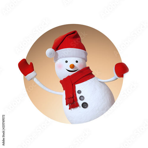 3d render, cute snowman cartoon character waving hand, inside round window, Chri Canvas Print