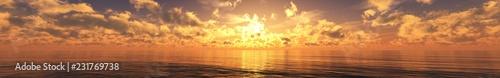 Panoramic sea sunset, fire ...