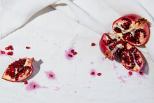 Pomegranate On White Surface