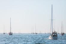Sailboat In An International Yacht Race On Open Water