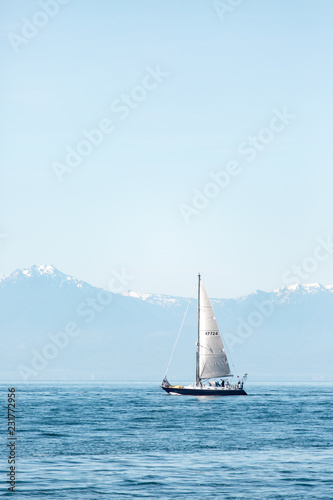 Canvas Print Sailboat in an international yacht race on open water