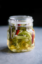 Okra Pickles With Peppers In Glass Jar